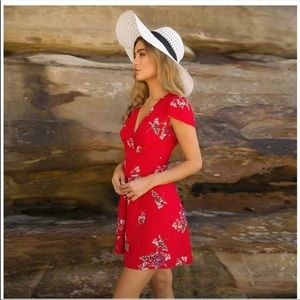 Dresses & Skirts - New Red Floral Wrap Sun Dress